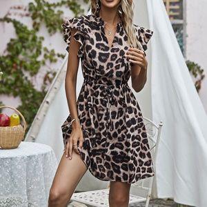 Boho Leopard Butterfly Sleeve Brown Mini Dress